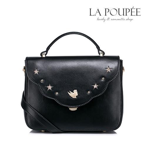 側背包 優雅波浪邊鏤空星星小方包 經典黑-La Poupee樂芙比質感包飾 (現貨)