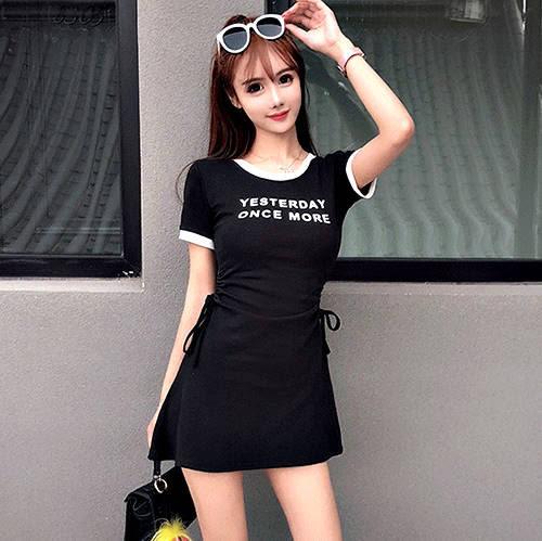 克妹Ke-Mei【AT53140】獨家,歐美單!ONCEMORE側抽繩修身A字連身洋裝