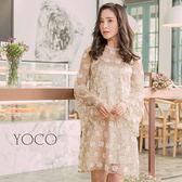東京著衣【YOCO】香檳美人滿版花朵刺繡透肌洋裝-S.M.L(180117)