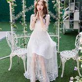 時尚花邊方領優雅刺繡蕾絲透視感長裙洋裝~春夏洋裝~美之札