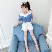女童夏季露肩套裝2020新款韓版洋氣兒童裝女孩時髦短袖短褲兩件套