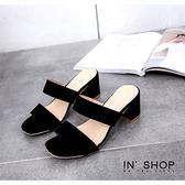 IN' SHOP 拖鞋-歐美寬帶露趾粗低跟涼拖鞋-共2色【KF00384】