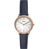FOSSIL 晶鑽雙針女錶-珍珠貝x藍/30mm FS5569