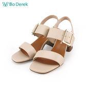 【Bo Derek 】方頭寬雙帶扣環高跟涼鞋-米色