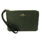 【COACH】經典LOGO防刮牛皮手拿包零錢包(孔雀綠)
