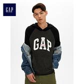 Gap男裝 Logo連帽長袖套頭休閒上衣 474796-正黑色