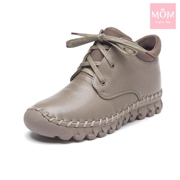 全真皮百搭舒適手工縫線綁帶設計休閒短靴 卡其 *MOM*