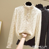 立領蕾絲衫女秋冬季網紗繡花長袖加厚加絨打底衫修身女士蕾絲襯衫 艾瑞斯