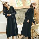 洋裝-緹花針織長袖寬鬆/設計家 Q8818