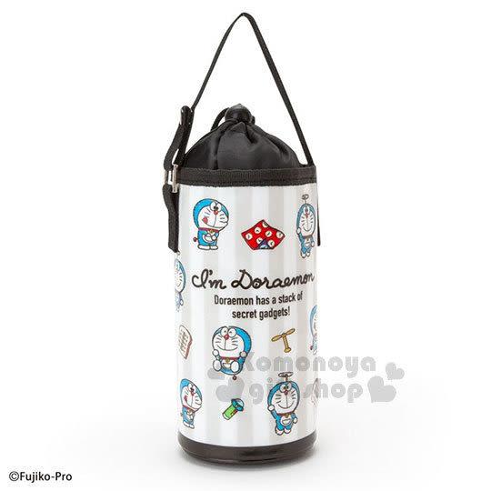 〔小禮堂〕哆啦A夢 保冷束口水壺袋《黑白.道具篇》可提.環保 4901610-92005