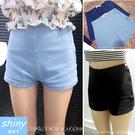 【V0785】shiny藍格子-簡約顯瘦.超修身側拉鍊高腰牛仔熱褲