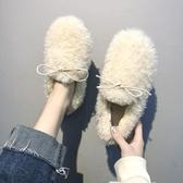 網紅毛毛鞋女冬外穿秋冬平底羊羔毛女鞋一腳蹬加絨女鞋 - 古梵希