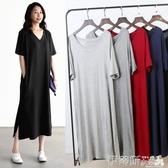 春裝大碼短袖連身裙女2020新款V領打底小黑裙夏季顯瘦莫代爾長裙 伊蒂斯