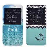 Samsung A7 2016 時尚彩繪手機皮套 側掀支架式皮套 海軍波紋/熱帶島嶼