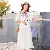 孕婦連身裙夏新款短袖民族風刺繡裙子寬鬆長款孕婦裝夏裝上衣   遇見生活