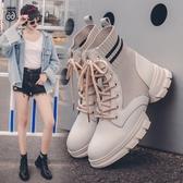靴子.英倫拼接造型休閒厚底襪靴.白鳥麗子