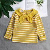 店長推薦 女寶寶長袖T恤條紋打底衫女童純棉上衣小童體恤秋裝新款1-3歲洋氣