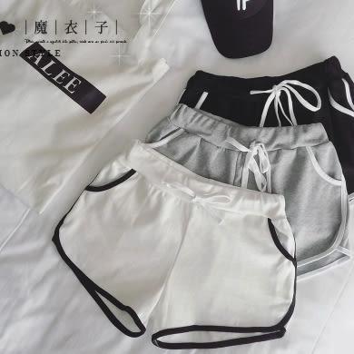 【QV0897】魔衣子-撞色鬆緊腰運動休閒短褲