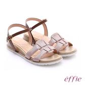 effie 個性涼夏 絨面真皮圓楦羅馬小坡跟涼鞋  粉紅