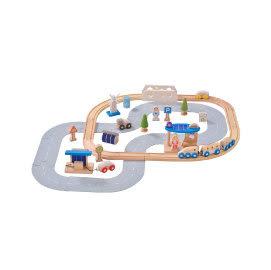 適用2歲以上幼兒 無毒玩具 德國EverEarth環保系寶寶成長木玩 環保城市軌道組 小火車 積木