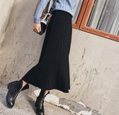 SHINE KOREA  新款百褶條紋顯瘦高腰針織裙