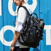雙肩包男時尚潮流韓版旅行男士背包皮休閒學生書包電腦男包潮新款  良品鋪子
