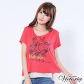 Victoria 異素材配色雙層長版上衣-女-橘紅