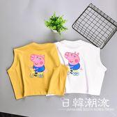 中小童夏裝新款2019韓版卡通運動休閑背心男女童寶寶寬松T恤4204