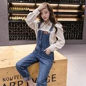 高腰牛仔背帶褲女韓版寬鬆顯瘦直筒長褲減齡洋氣百搭吊帶連體褲子 8號店