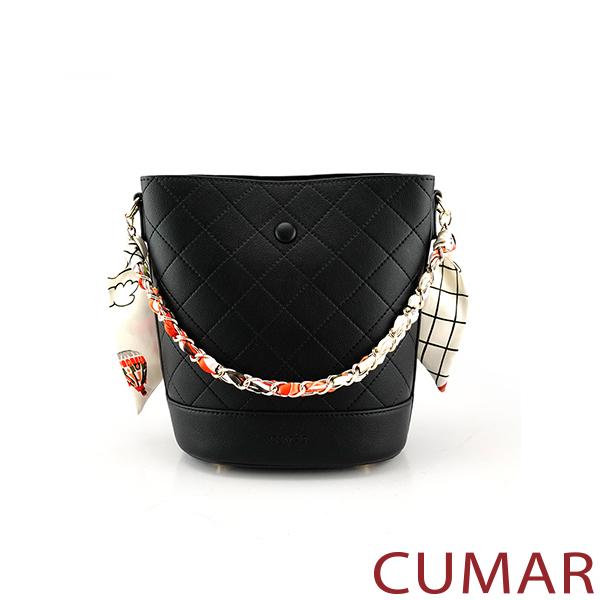 CUMAR  絲巾鍊條2WAY水桶包-黑色