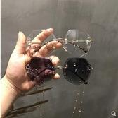 網紅街拍錬條墨鏡女2018新款韓版潮太陽眼鏡平光鏡 滿天星
