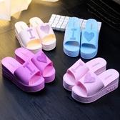 拖鞋女夏季可愛桃心厚底涼拖鞋居家浴室軟底中跟一字拖防滑沙灘鞋 快速出貨
