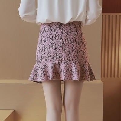 蕾絲短裙-時尚氣質高腰魚尾裙女裙子3色73kj100【巴黎精品】