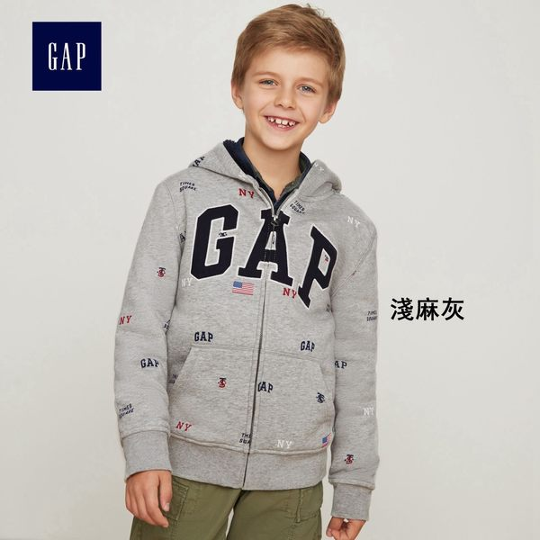 Gap男童 時代廣場系列印花徽標撞色長袖連帽運動衫 373341-淺麻灰