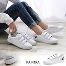 休閒鞋.小白鞋系列魔鬼氈平底休閒鞋【KC01】白紅/白銀(偏小)