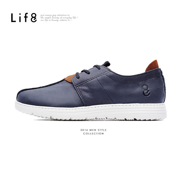 MIT。輕量。打蠟牛皮。隨性休閒鞋-黑色【09423】