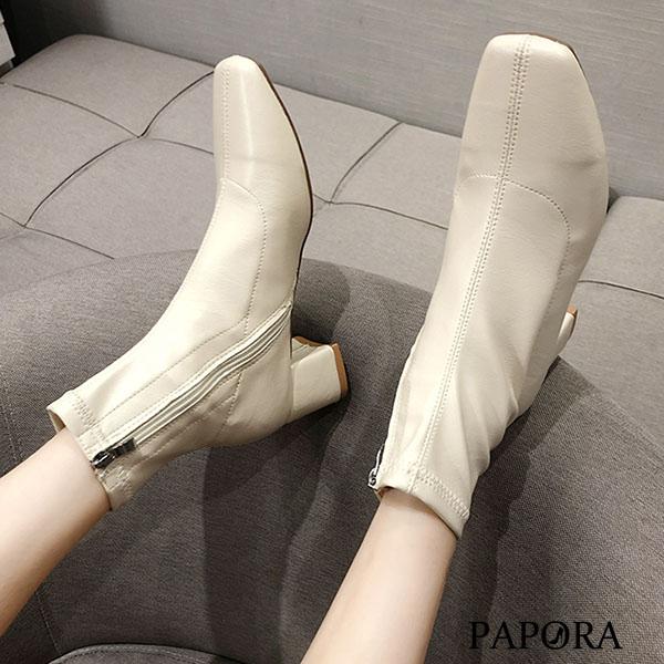 PAPORA網紅最愛仿皮面側拉鍊方頭短靴KA322