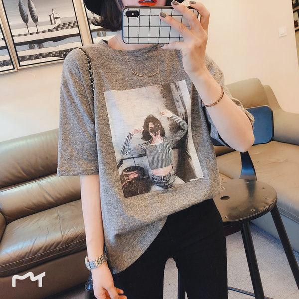 one seven 韓版寬鬆大版BF風美女圖百搭時尚短袖女T恤印花內搭 金曼麗莎