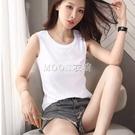 夏季無袖背心女外穿性感寬鬆韓版休閒大碼打底內搭白色圓領t恤女 快速出貨