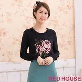 RED HOUSE-蕾赫斯-玫瑰花朵針織衫(共二色)