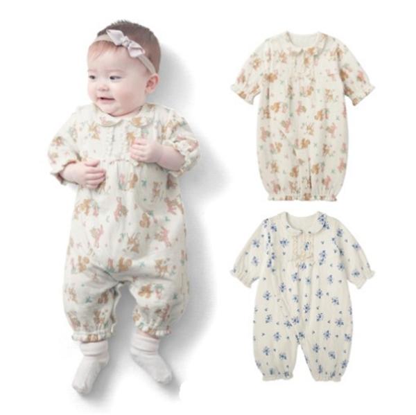 日本三層空氣棉女寶連身衣 新生兒服 保暖兔裝 寶寶衣 嬰兒用品(50-60)【GD0138】