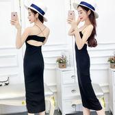 夏季新款韓版時尚性感細肩帶露背緊身彈力包臀洋裝打底裙 店家有好貨