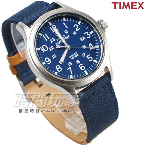 TIMEX 天美時 24時顯示 休閒帆布帶+皮帶腕錶 藍色 男錶 夜光 日期顯示窗 TXT4B07000