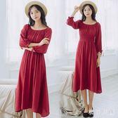 中大尺碼一字肩洋裝文藝復古紅色連衣裙女修身顯瘦sd3142【衣好月圓】【衣好月圓】