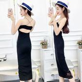 夏季新款韓版時尚性感細肩帶露背緊身彈力包臀洋裝打底裙【販衣小築】
