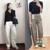 寬管褲 19新款合作款寬腿廓形針織褲高腰直筒寬管褲女422486 4色S-L