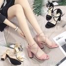 涼鞋女夏新款8cm粗跟綁帶一字帶扣百搭露趾性感顯瘦高跟鞋女 【韓語空間】