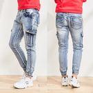 縮口褲.側口袋三角標造型牛仔褲