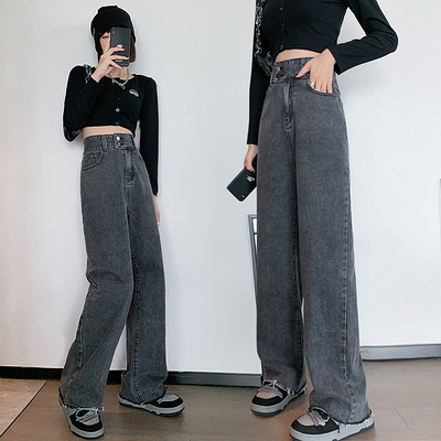 S-6XL大碼牛仔長褲~ins高腰牛仔褲女韓版直筒寬松闊腿褲雙扣百搭230斤1507.1F039莎菲娜