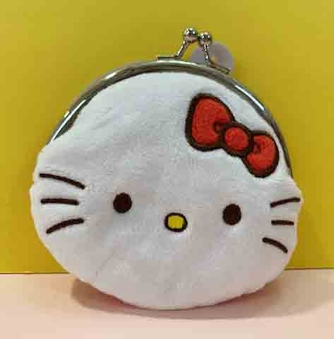 【震撼精品百貨】Hello Kitty 凱蒂貓~三麗鷗 KITTY珠扣零錢包-絨毛#61117
